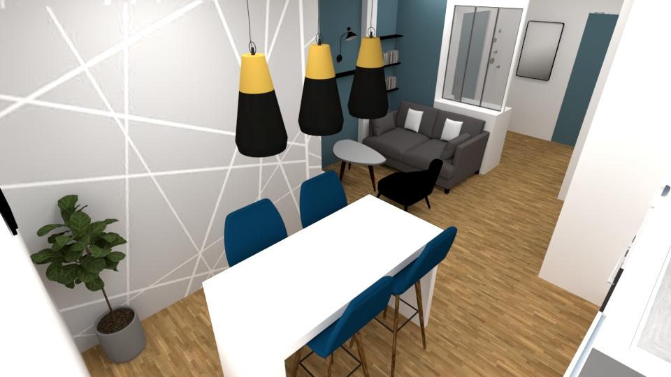 Salon studio bleu